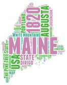 Maine USA state map vector tag cloud illustration — Stock Vector