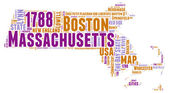 Massachusetts USA state map vector tag cloud illustration — Wektor stockowy