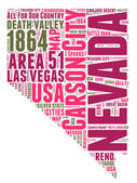 Nevada USA state map vector tag cloud illustration — Stock Vector