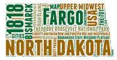North Dakota USA state map vector tag cloud illustration — Stock Vector