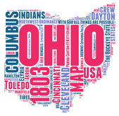 Ohio USA state map vector tag cloud illustration — Stock Vector