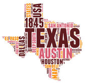 Texas USA state map tag cloud vector illustration — Stock Vector