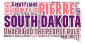 South Dakota USA state map tag cloud vector illustration — Stock Vector
