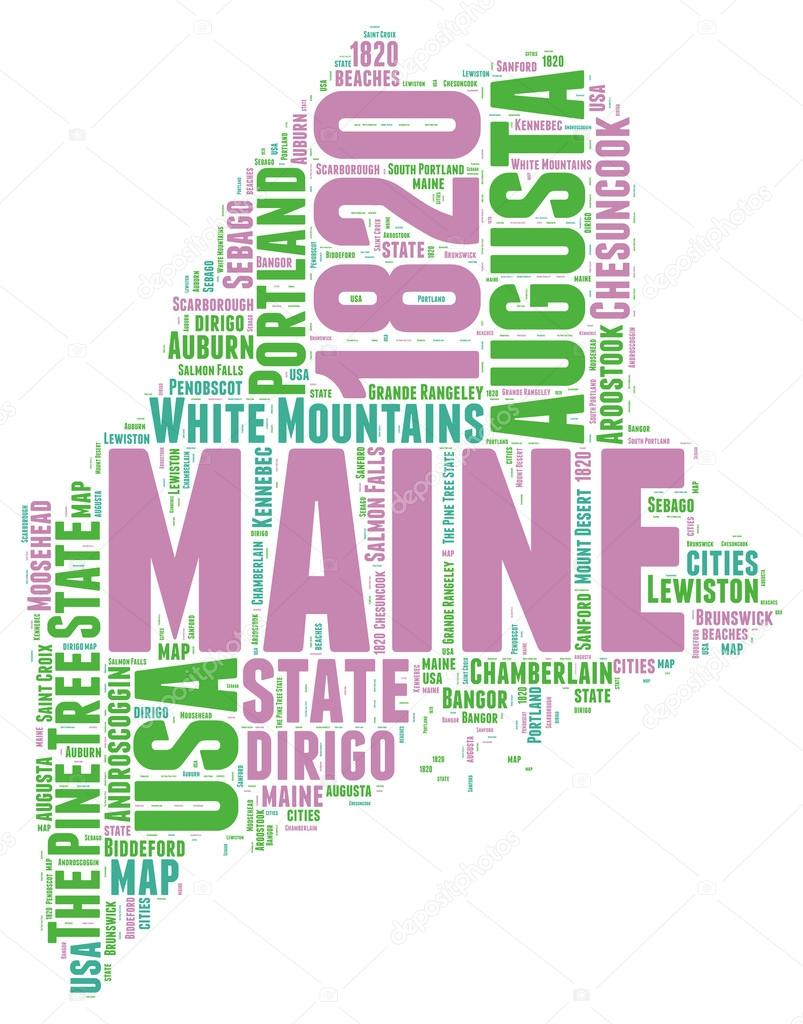 Maine USA State Map Vector Tag Cloud Illustration  Stock Vector - Maine on map of usa