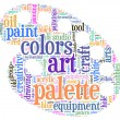 Painter palette tag cloud vector illustration — Stock Vector