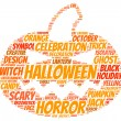 Stock Vector: Halloween pumpkin tag cloud vector illustration