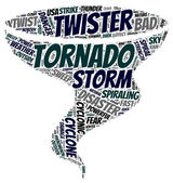 Tornado pictogram tag cloud vector illustration — Stock Vector