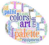Painter palette tag cloud vector illustration — Stock Vector
