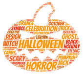 Halloween pumpkin tag cloud vector illustration — Stock Vector