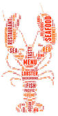 Lobster silhouette tag cloud vector illustration — Stock Vector