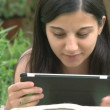 Girl using digital tablet — Stock Video