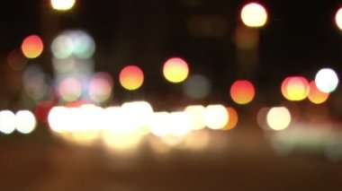 Out of focus city car lights — Stock Video