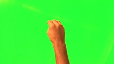 Male hand gestures - green screen and alpha matte — Stock Video