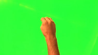 Male hand gestures - green screen and alpha matte — Stockvideo