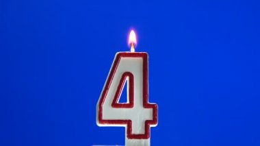 Number 4 - four birthday candle burning - blow out at the end — Stock Video