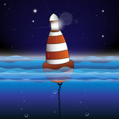 Buoy Illustration with Night scene — Stock Vector