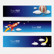Stock Vector: Night and Sky Themed Banner Set