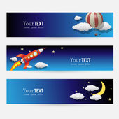 Night and Sky Themed Banner Set — Stock Vector