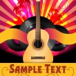 Stock Vector: Colorful Vector Party Flyer with Acoustic Guitar