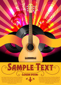 Flyer de fiesta colorido vector con guitarra acústica — Vector de stock