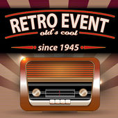 Retro partij folder met vintage radio — Stockvector