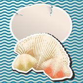 Tarjeta de felicitación de estilo retro con ilustración de concha de mar — Vector de stock