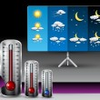 Weather Illustration set with Thermometer — Stock Vector