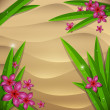 Beach sand background with wet leafs and flowers — ストックベクタ