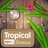 Tropical adventure background illustration with compass and flow — Stock Vector