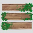 Ivy leaf decorated wood plank vector banner set — Stock Vector