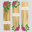 Ivy leaf with flowers decorated vector sand banner set — Vektorgrafik