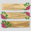 Ivy leaf with flowers decorated vector sand banner set — Imagen vectorial