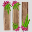 Stock Vector: Leafs and exotic flower decorated vector wood banner set