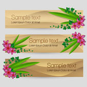 Ivy leaf with flowers decorated vector sand banner set — Vettoriale Stock