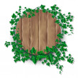 Ivy leaf decorated wood plank — Stock Vector #35815197