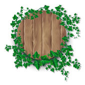 Ivy leaf decorated wood plank — Stock Vector