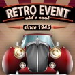 Retro Party Flyer with Vintage Car — Imagen vectorial