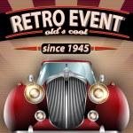 Retro Party Flyer with Vintage Car — Stock Vector