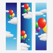Stock Vector: Balloons fly over clouds in sky design banner set