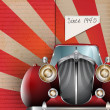 Retro Party brochure with vintage car — Imagen vectorial