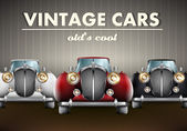 Vector set of old's cool vintage cars — Stock Vector