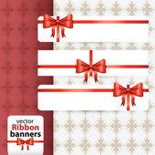 Cute vector ribbon banner set — Stock Vector