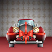 Vintage red car tied with red bow — Stock Vector