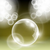 Shiny vector yellow blank glass bubble with light flares — Vector de stock