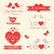 Vector Valentines day illustrations and typography elements — Stock Vector #38920805
