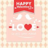 Vector Valentine card with cute birds — Stock Vector
