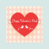 Vector Valentine card with cute birds — Stock Vector