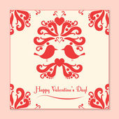 Vector Valentine card with cute birds — Stockvektor