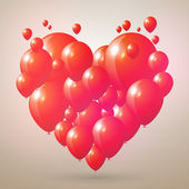 Vector heart shaped balloons illustration — ストックベクタ