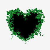 Vector Ivy branch heart illustration — Vector de stock